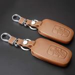 Leder Schlüssel Cover passend für Audi Schlüssel AX4 braun