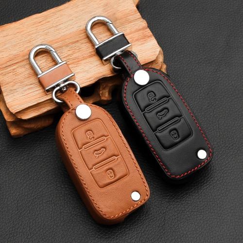 Leder Schlüssel Cover passend für Volkswagen, Skoda, Seat Schlüssel V2