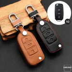 Leather key case/cover incl. keychain for Volkswagen,...
