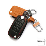 Coque / Housse Clé télécommande en cuir Voiture incl. mousquetons pour Volkswagen, Skoda, Seat  LEK1-V2