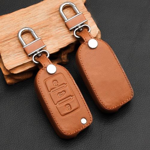 Cuero funda para llave de Volkswagen, Skoda, Seat V2 marrón