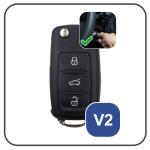 Coque / Housse Clé télécommande en cuir Voiture incl. mousquetons pour Volkswagen, Skoda, Seat brun LEK1-V2-2