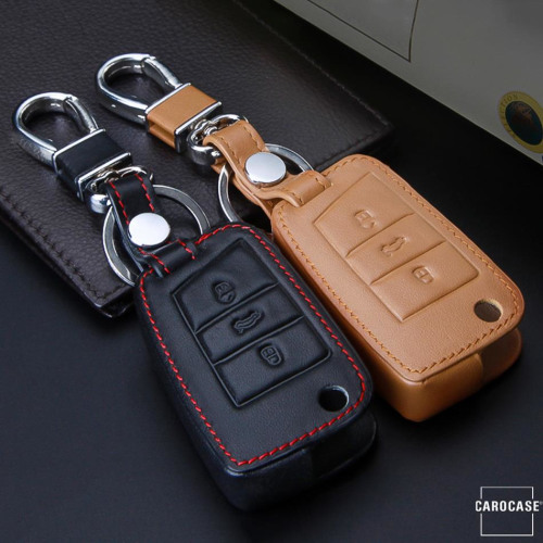 Leather key case/cover incl. keychain for Volkswagen, Audi, Skoda, Seat remote key