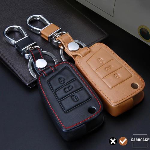 Coque de protection en cuir pour voiture Volkswagen, Audi, Skoda, Seat clé télécommande V3 brun