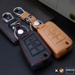 Coque / Housse Clé télécommande en cuir Voiture incl. mousquetons pour Volkswagen, Audi, Skoda, Seat brun LEK1-V3-2