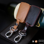 Leather key case/cover incl. keychain for Volkswagen, Audi, Skoda, Seat remote key brown