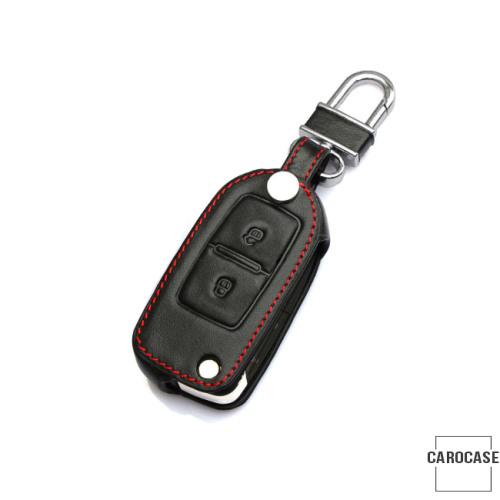 Cuero funda para llave de Volkswagen, Skoda, Seat V1 negro