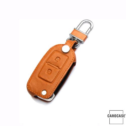 Coque / Housse Clé télécommande en cuir Voiture incl. mousquetons pour Volkswagen, Skoda, Seat brun LEK1-V1-2