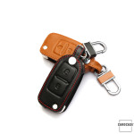 Leather key case/cover incl. keychain for Volkswagen, Skoda, Seat remote key brown