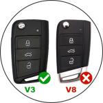 Silicone key case/cover for Volkswagen, Audi, Skoda, Seat remote keys  SEK1-V3