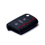 Silicone key case/cover for Volkswagen, Audi, Skoda, Seat remote keys black SEK1-V3-1