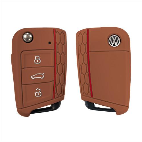 Silicone key fob cover case fit for Volkswagen, Audi, Skoda, Seat V3 remote key brown