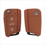 Silicone key case/cover for Volkswagen, Audi, Skoda, Seat remote keys brown SEK1-V3-2