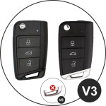 Silikon Schutzhülle / Cover passend für Volkswagen, Audi, Skoda, Seat Autoschlüssel V3 braun