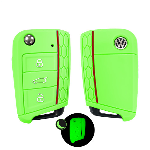 Silicone key fob cover case fit for Volkswagen, Audi, Skoda, Seat V3 remote key luminous green