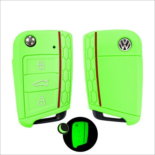 Silikon Schutzhülle / Cover passend für Volkswagen, Audi, Skoda, Seat Autoschlüssel V3 grün (illuminierend)