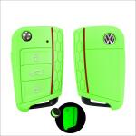 Silicone key case/cover for Volkswagen, Audi, Skoda, Seat remote keys luminous green SEK1-V3-8