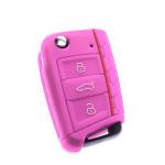 Silikon Schutzhülle / Cover passend für Volkswagen, Audi, Skoda, Seat Autoschlüssel V3 rosa