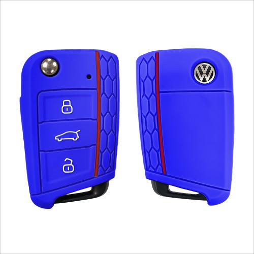 Silicone key fob cover case fit for Volkswagen, Audi, Skoda, Seat V3 remote key blue