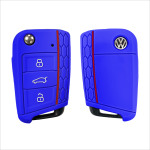 Car Key Cover Leather for Volkswagen - KeyType AU3 dark blue