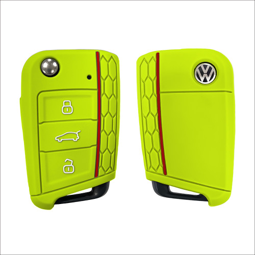 Coque de protection en silicone pour voiture Volkswagen, Audi, Skoda, Seat clé télécommande V3 vert