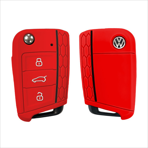 Silicone key fob cover case fit for Volkswagen, Audi, Skoda, Seat V3 remote key red