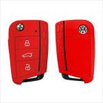 Silicone key case/cover for Volkswagen, Audi, Skoda, Seat remote keys red SEK1-V3-3