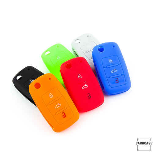 Coque de protection en silicone pour voiture Volkswagen, Skoda, Seat clé télécommande V2