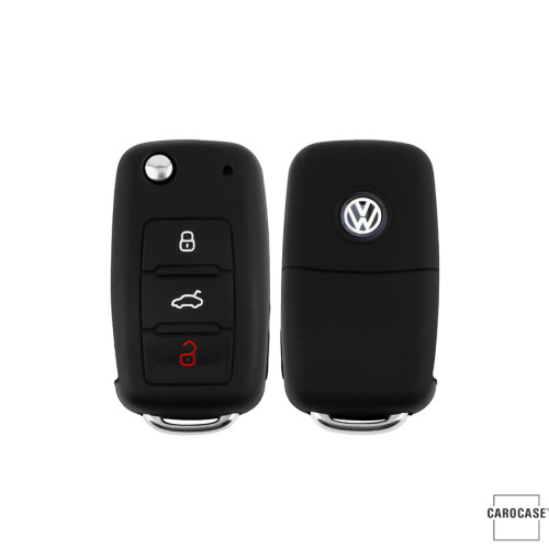Silicone key case/cover for Volkswagen, Skoda, Seat remote keys black SEK1-V2-1