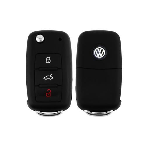 Silicone key fob cover case fit for Volkswagen, Skoda, Seat V2 remote key black