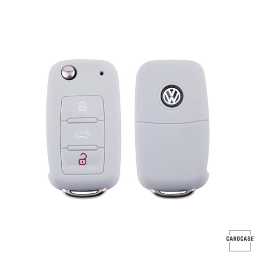 Silicone key fob cover case fit for Volkswagen, Skoda, Seat V2 remote key grey