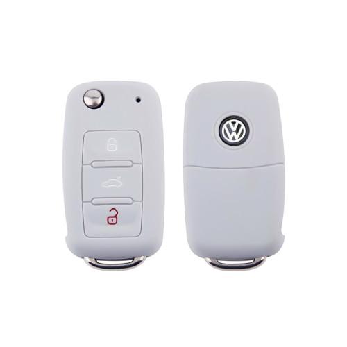 Silikon Schutzhülle / Cover passend für Volkswagen, Skoda, Seat Autoschlüssel V2 grau