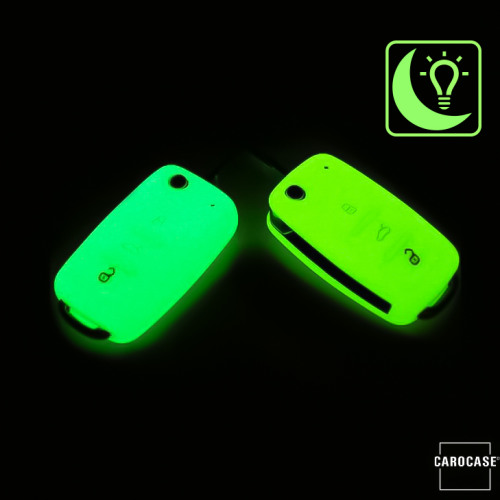 Silicone key fob cover case fit for Volkswagen, Skoda, Seat V2 remote key luminous green
