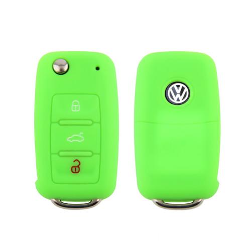 Coque de protection en silicone pour voiture Volkswagen, Skoda, Seat clé télécommande V2 lumineux vert