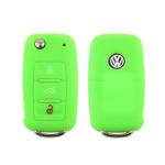 Silikon Schutzhülle / Cover passend für Volkswagen, Skoda, Seat Autoschlüssel V2 grün (illuminierend)