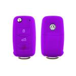 Silikon Schutzhülle / Cover passend für Volkswagen, Skoda, Seat Autoschlüssel V2 lila