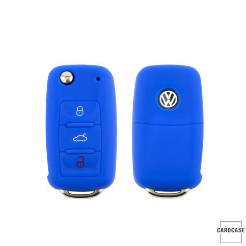 Coque de protection en silicone pour voiture Volkswagen, Skoda, Seat clé télécommande V2 bleu