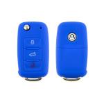 Silikon Schutzhülle / Cover passend für Volkswagen, Skoda, Seat Autoschlüssel V2 blau