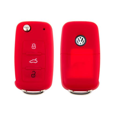 Coque de protection en silicone pour voiture Volkswagen, Skoda, Seat clé télécommande V2 rouge