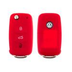 Silicone key case/cover for Volkswagen, Skoda, Seat remote keys red SEK1-V2-3
