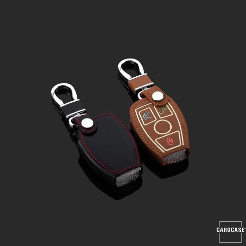 Leder Schlüssel Cover passend für Mercedes-Benz Schlüssel  LEUCHTEND! LEK2-M7