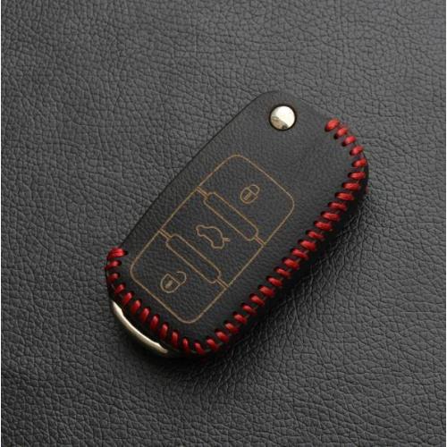 Housse de clé en cuir pour Volkswagen - type de clé V2 noir/rouge