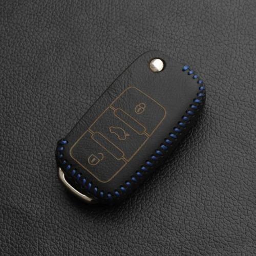 Schlüssel Cover aus echtem Leder, für VW Schlüsseltyp V2 schwarz/blau