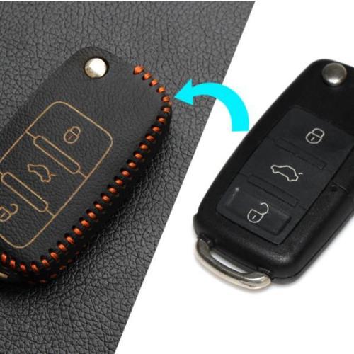 Car Key Cover Leather for Volkswagen - KeyType V2 black/orange