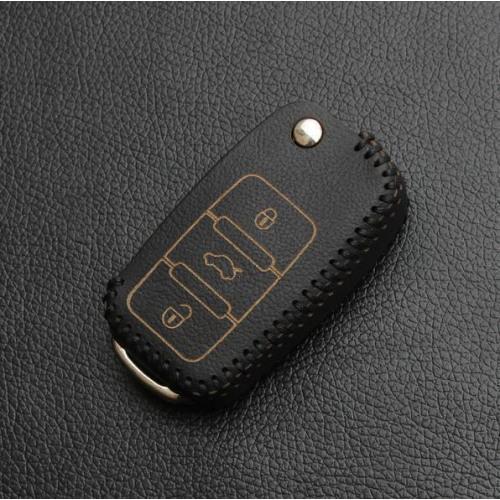 Schlüssel Cover aus echtem Leder, für VW Schlüsseltyp V2 schwarz/schwarz