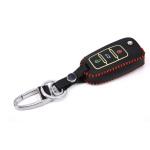 Schlüssel Cover aus echtem Leder für VW Schlüsseltyp, Nachleuchtend,Schlüssel Type V2 schwarz/rot