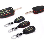 Car Key Cover Leather for Volkswagen glow- KeyType V2 black/red
