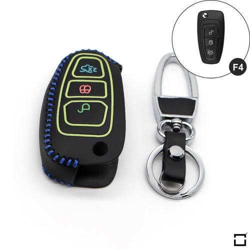 Schlüssel Cover aus echtem Leder für Ford, Nachleuchtend, Schlüssel Type F4 schwarz/blau