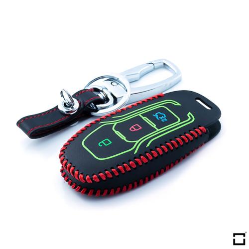 Cover Guscio / Copri-chiave Pelle compatibile con Ford F3 rosso, nero, nero/rosso