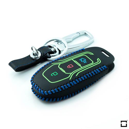 Coque de protection en cuir pour voiture Ford clé télécommande F3 bleu, noir, noir/bleu
